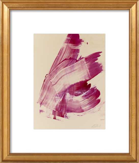 """Hot Pink Abstract - 17x20"""" - Gold Leaf Wood Frame with Matte - Artfully Walls"""