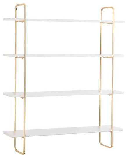 Metallic Trim Multi-level Wall Shelves, 4-Shelf, Gold/Whit - Pottery Barn Teen