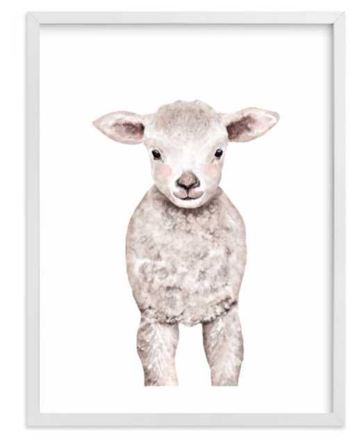 "Baby Animal Sheep Framed Art Print - 16"" x 20"" - White Wood Frame - Minted"