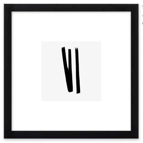 """Lines 2, 1 - 8"""" x 8"""" - Black Matte Frame with Mat - Artfully Walls"""