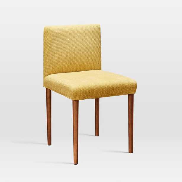 Ellis Dining Chair, Basket Slub, Dark Horseradish, Pecan - West Elm