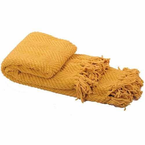 Nader Tweed Knitted-Design Throw, Lemon Curry - Wayfair