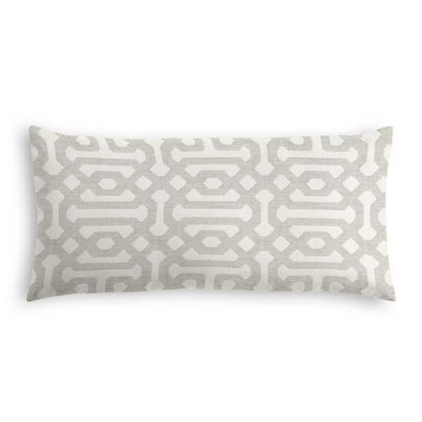 "Lumbar Pillow / Sunbrella Fretwork - Pewter 12"" x 24"" - Loom Decor"