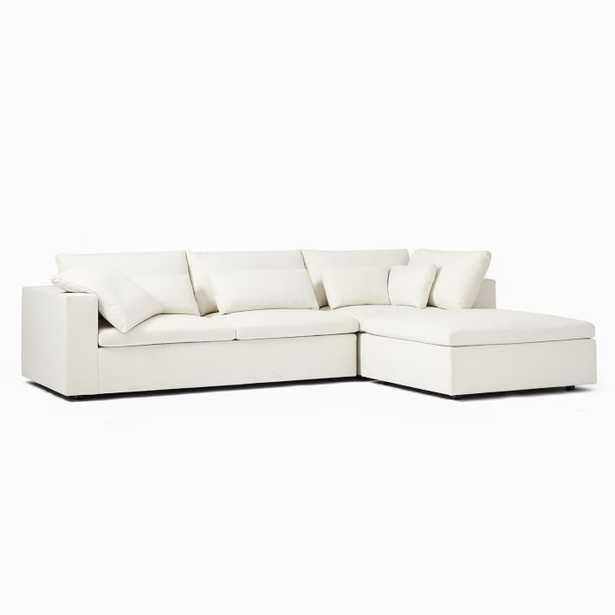 Harmony Modular Set 01: Left Arm Sofa & Corner & Ottoman, Oyster, Eco Weaves - West Elm