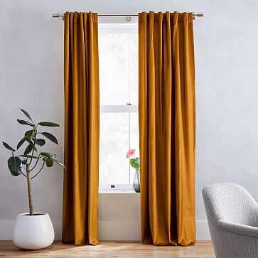 """Luster Velvet Curtain + Blackout Panel, Set of 2, Golden Oak 48""""x96"""" - West Elm"""
