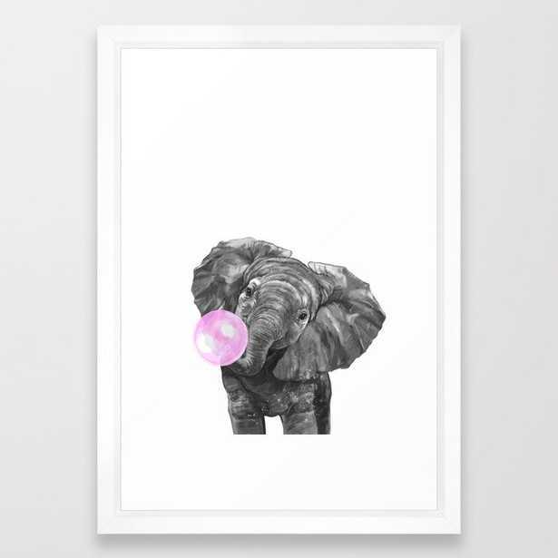 Bubble Gum Elephant Black and White Framed Art Print - Society6