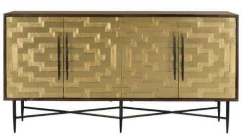 Skylar Brass Sideboard - Dark Brown - Arlo Home - Arlo Home