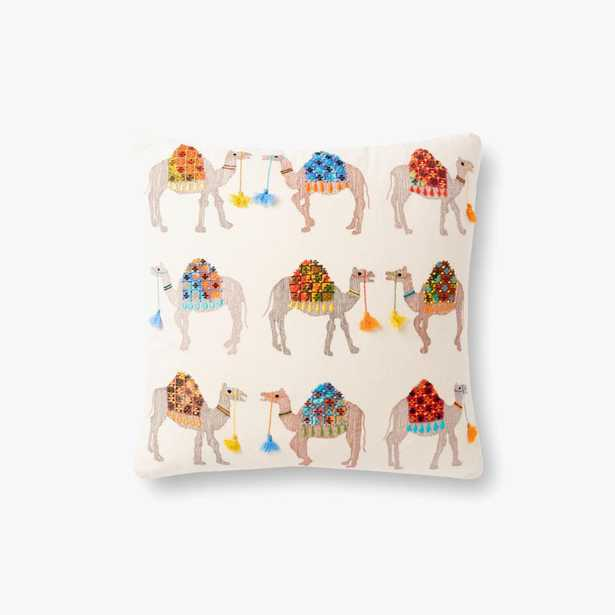 """Loloi PILLOWS P0868 Natural / Multi 18"""" x 18"""" Cover w/Poly - Loma Threads"""