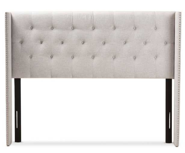 BAXTON STUDIO ALLY MODERN AND CONTEMPORARY GREYISH BEIGE FABRIC BUTTON-TUFTED NAIL HEAD KING SIZE WINGED HEADBOARD - Lark Interiors