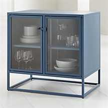 Casement Blue Small Metal Sideboard - Crate and Barrel