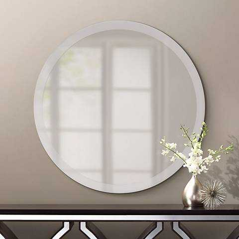 """Round Frameless 42"""" Wide Beveled Mirror - Lamps Plus"""