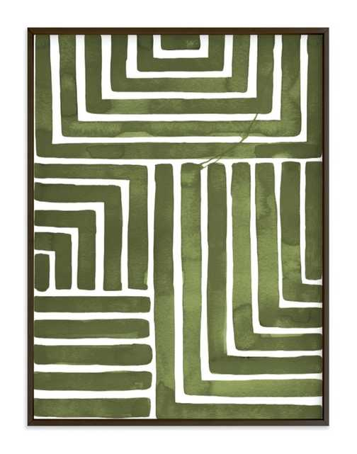 """Hard & Soft by Kristine Sarley in Moss with Classic Rich Black Wood Frame and No Matte - 30""""x40"""" - Minted"""