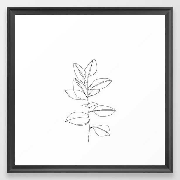 One line plant illustration - Dany Framed Art Print by Thecolourstudy (Scoop Black Frame) - Society6