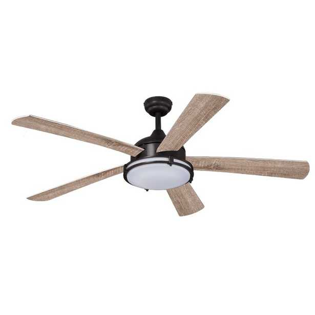 """52"""" Heatherstone 5 - Blade LED Standard Ceiling Fan with Remote Control and Light Kit Included - Wayfair"""