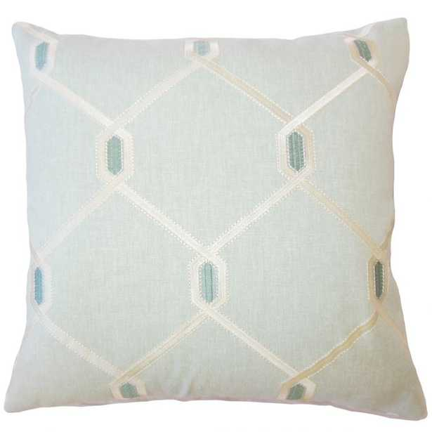 """EADITH GEOMETRIC PILLOW SEAGREEN, 18"""" x 18"""" with down insert - Linen & Seam"""