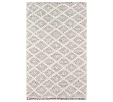 Elba Flatweave Rug, 7.6 x 9.6', Grey/Ivory - Pottery Barn
