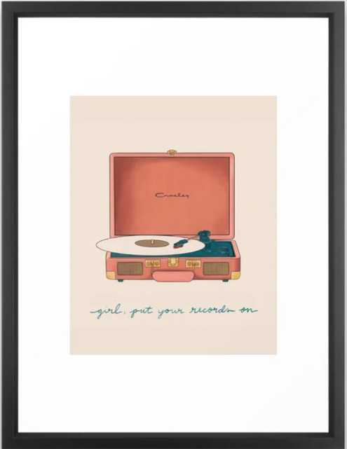 Girl, Put Your Records On Framed Art Print, Vector Black, 20 X 26 - Society6