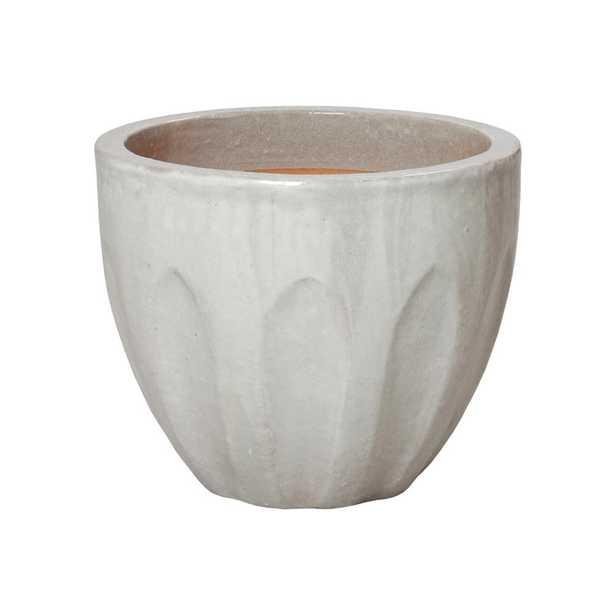 Emissary 16 in. Dia Round Stone Gray Ceramic Calyx Planter - Home Depot
