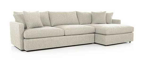Lounge II 2-Piece Sectional Sofa - Taft Cement- Ships in Nov - Crate and Barrel