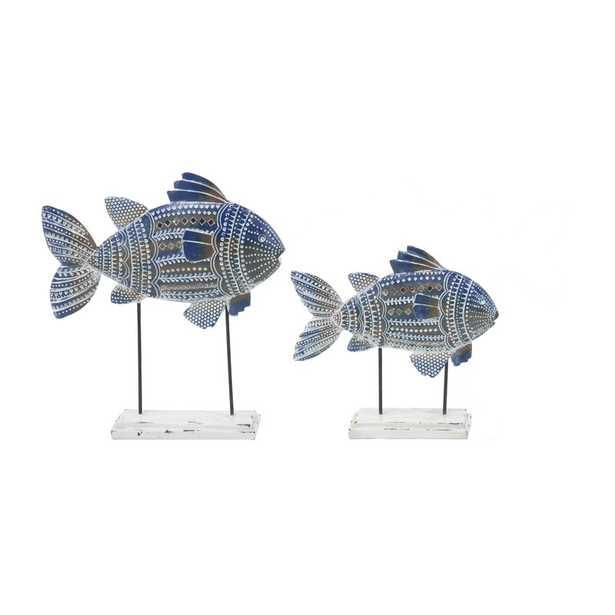 Erdman Coastal Tribal-Printed Fish 2 Piece Figurine Set with Stand - Birch Lane