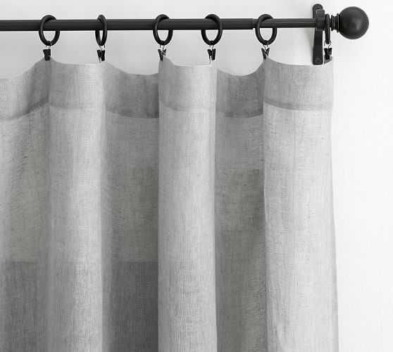"Belgian Flax Linen Poletop Sheer Drape, 50 x 84"", Gray - Pottery Barn"