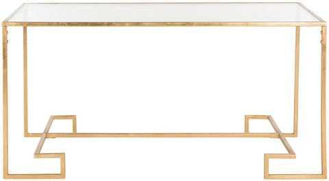 Burton Glass/Antique Gold Coffee Table - Arlo Home