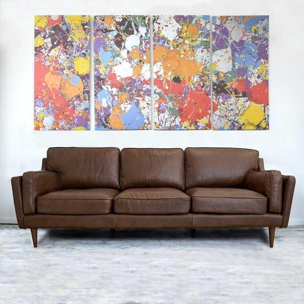 "Vannest Genuine Leather 88"" Square Arm Sofa - Wayfair"