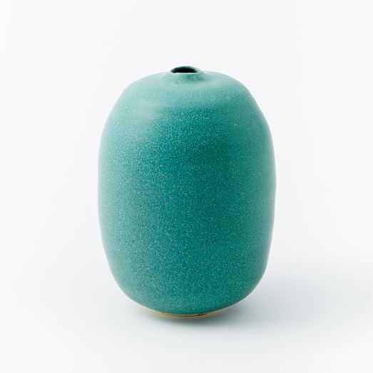 Judy Jackson Bottle Vase, Medium, Turquoise - West Elm
