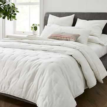 Beglian Flax Linen Cotton Metallic Quilt, King, Stone White - West Elm