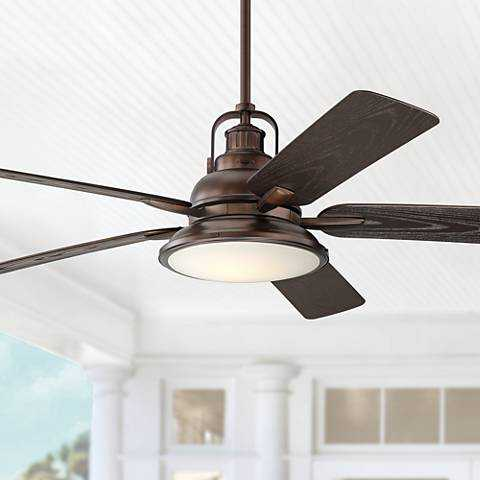 """60"""" Wind and Sea Oil Brushed Bronze Wet LED Ceiling Fan - Lamps Plus"""