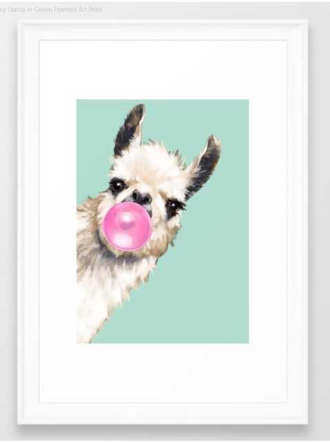 Bubble Gum Sneaky Llama in Green Framed Art Print - Society6