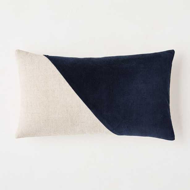 """Cotton Linen + Velvet Lumbar Pillow Cover, 12""""x21"""", Midnight - West Elm"""