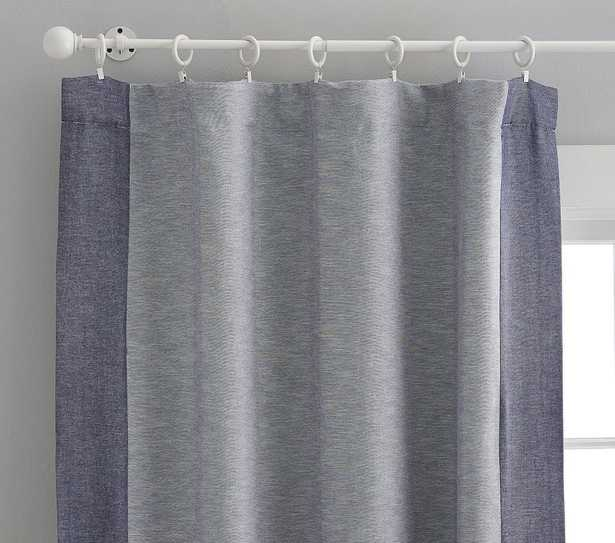 Contrast Border Blackout Curtain, 84 Inches, Navy, Set of 2 - Pottery Barn Kids