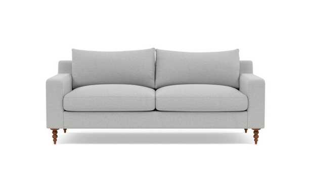 "SLOAN Fabric 2-Seat Sofa, Ecru Monochromatic Plush, Oiled Walnut Tapered Turned Wood, 75"", 40"" Depth, 2 Cushions, Standard Down Fill - Interior Define"