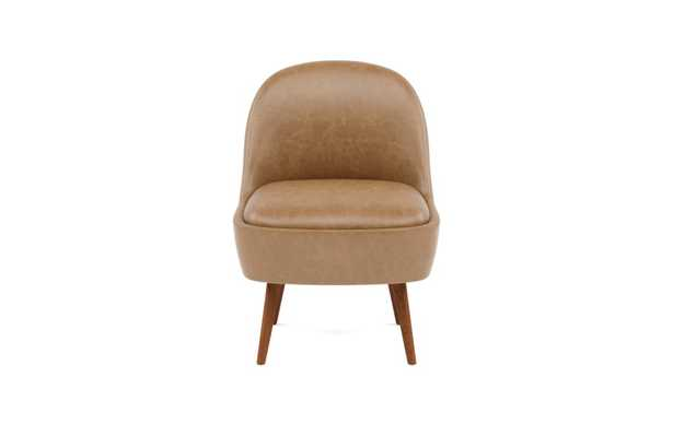 MADELINE Leather Slipper Chair - Palomino Pigment-Dyed Leather - Oiled Walnut Tall Wood Tapered - Interior Define