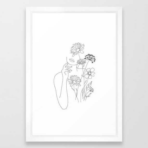 Minimal Line Art Woman with Flowers III Framed Art Print - Society6