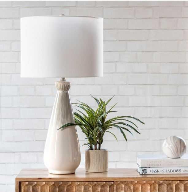 nuLOOM 27 in. Beige Carmel Ceramic Indoor Table Lamp - Home Depot