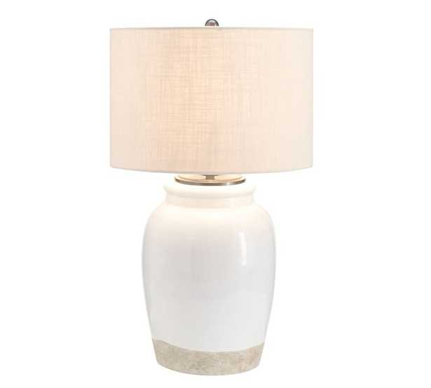 Miller Small Table Lamp, with Medium Textured Straight Sided Shade, Sand - Pottery Barn