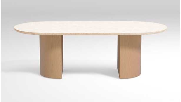 Vernet Oval Travertine Coffee Table - Crate and Barrel