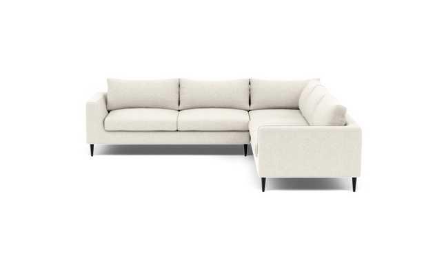 "ASHER Corner Sectional Sofa - 98""x98"" - Vanilla Static Weave/Unfinished GunMetal Tapered Round Metal leg - Interior Define"