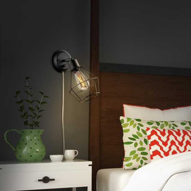 Globe Electric 1-Light Black Shade Plug-in Wall Sconce with Clear 6 ft. Cord - Home Depot