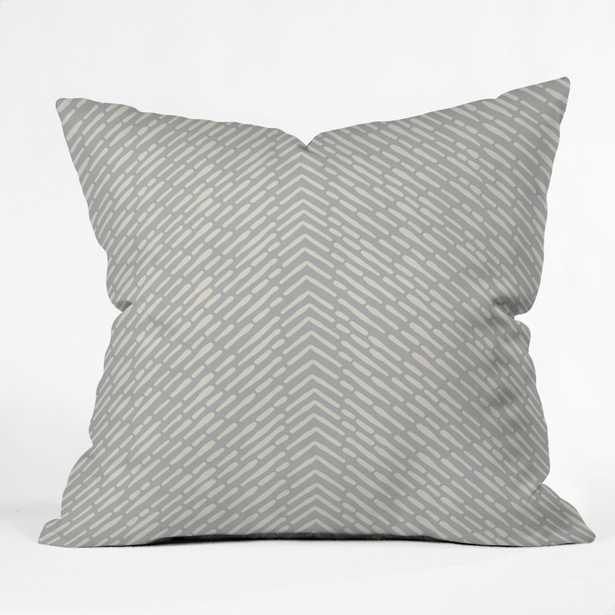 ROUX GRAY Throw Pillow with Insert-  16''x16'' - Wander Print Co.
