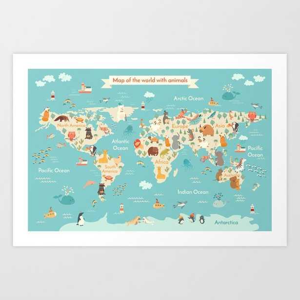 "Animals world map for kid Art Print - 28"" x 20"" - Society6"