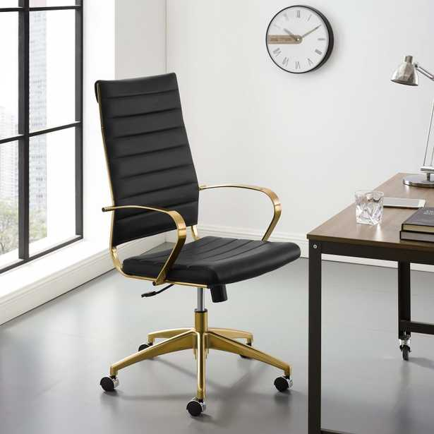 JIVE HIGHBACK OFFICE CHAIR IN GOLD BLACK - Modway Furniture