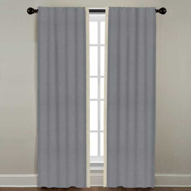 """Linen Border Drapery Single Panel, Dusk with Natural, 96"""" - Havenly Essentials"""