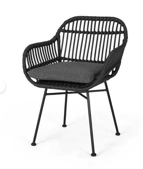 Maspeth Outdoor Woven Patio Chair with Cushion (set of 2) - Wayfair