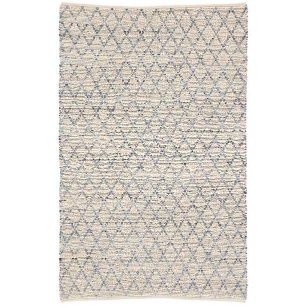 Dotson Natural Handwoven Flatweave Ivory/Blue Area Rug - Wayfair