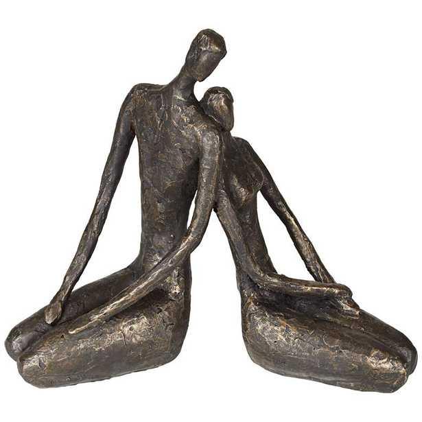 """Loving Couple 11 1/2"""" Wide Bronze Sculpture - Lamps Plus"""