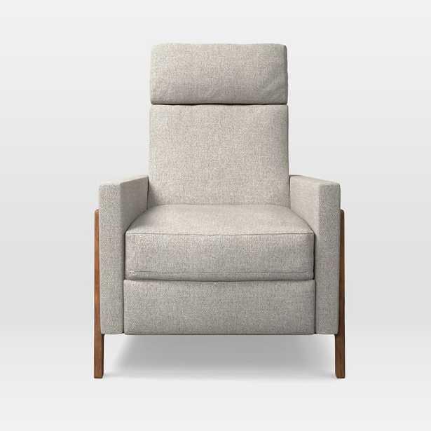 Spencer Wood-Framed Upholstered Recliner - Twill, Stone - West Elm