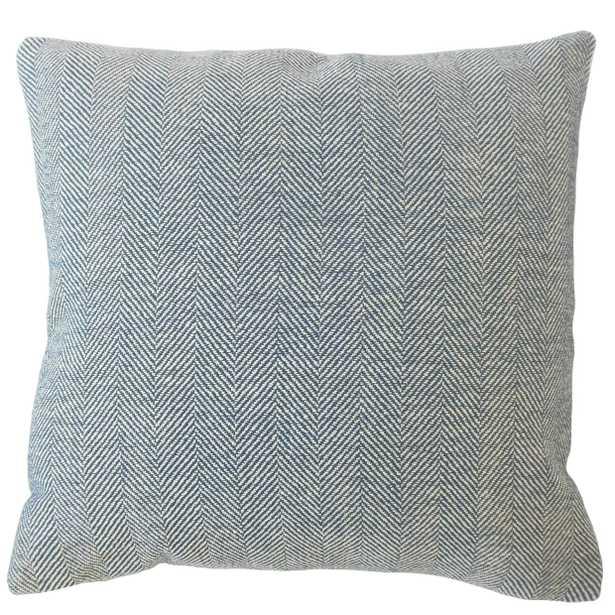 """Linen Herringbone Pillow, Pacific, 20"""" x 20"""" - Havenly Essentials"""